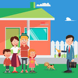 Happy Family Buying a New House. Real Estate Agent with Keys from House. Vector Royalty Free Stock Image