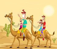 Happy family on camel ride. In desert Royalty Free Stock Images
