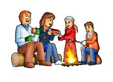 Happy family camping royalty free illustration