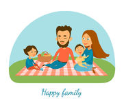 A happy family. Camping. Picnic. A family. Cartoon characters Royalty Free Stock Image