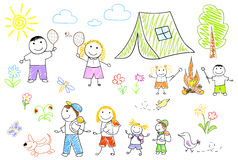 Happy family in camping Stock Photos