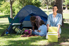 Happy family on a camping trip Stock Images
