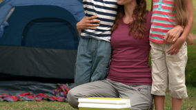 Happy family on a camping trip stock footage