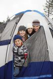 Happy Family Camping In Winter Stock Image