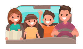 Happy family in the car. Merry travel. Vector illustration  Royalty Free Stock Photography