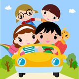 Happy family in car on vacation. Illustration of Happy family in car on vacation Royalty Free Stock Photos