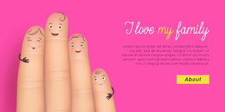 Happy family card. Realistic funny fingers with faces together. Inspirational and heartwarming poster. Flat style vector illustration pink background Royalty Free Stock Photos