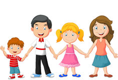 Happy family cartoon holding hands Stock Photo
