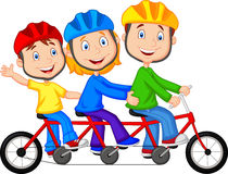 Happy family cartoon riding triple bicycle Stock Photo