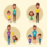 Happy family. Cartoon vector illustration Royalty Free Stock Photography