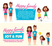Happy family. Cartoon vector illustration. Mother, father, son and daughter. Little children. Cute characters Happy together Stock Photography