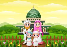Happy family cartoons celebrate for eid mubarak with mosque in the forest Stock Photos