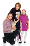 Happy family with cat Royalty Free Stock Photography