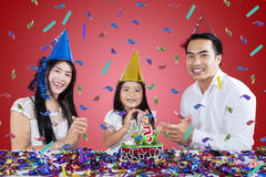 Happy family celebrate birthday party Stock Image
