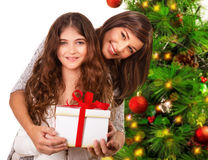 Happy family celebrate Christmas stock photo