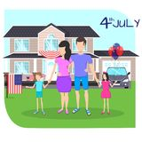Happy family celebrate July 4. The Independence Day of the United States of America against the background of the house Royalty Free Stock Image