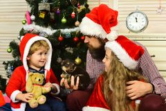 Happy family celebrate new year and Christmas. Royalty Free Stock Photos
