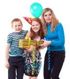 Happy Family celebrates birthday Stock Photo