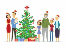 Happy family celebrates Christmas - cartoon people characters illustration Stock Photos