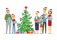 Happy family celebrates Christmas - cartoon people characters illustration Royalty Free Stock Photo
