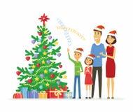 Happy family celebrates Christmas - cartoon people characters illustration Stock Photo