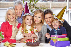 Happy family celebrating birthday Royalty Free Stock Photos
