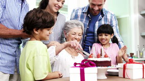 Happy family celebrating a birthday stock footage