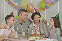 Happy family celebrating birthday Royalty Free Stock Image