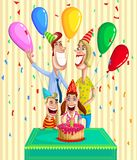 Happy family celebrating birthday. Together Royalty Free Stock Images