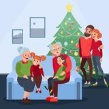 Happy Family Celebrating Christmas. Grandparents with Grandchildren on New Year Eve. Winter Holidays Stock Image