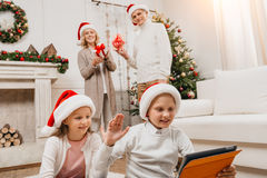Happy family celebrating christmas Stock Photography