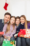 Happy family celebrating the christmas Stock Image