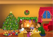 Happy family celebrating Christmas together Royalty Free Stock Photos
