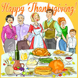 Happy family celebrating Thanksgiving Day. Card design Royalty Free Stock Image