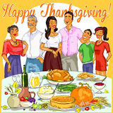 Happy family celebrating Thanksgiving Day Royalty Free Stock Image
