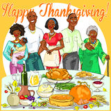 Happy family celebrating Thanksgiving Day Royalty Free Stock Photos