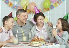 Happy family celebrationg birthday Stock Photo