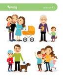 Happy family characters Stock Photos