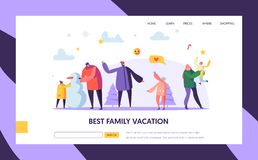 Happy Family Characters Playing Snowball on Winter Holidays Landing Page Template. Mother, Father and Kids Playing