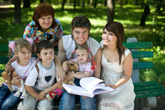 Happy family child and grangmother in outdoor. stock photography