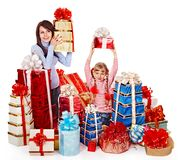 Happy family with child and group gift box. Isolated Royalty Free Stock Photos