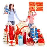 Happy family with child and group gift box. Royalty Free Stock Photos