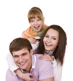Happy family and child. Isolated. Stock Images