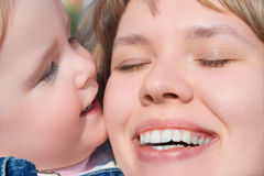 Happy family child and mother stock photography
