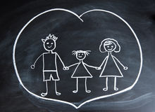Happy family, child`s drawing with chalk Royalty Free Stock Photography