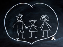 Happy family, child`s drawing with chalk Stock Photography