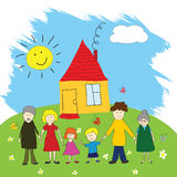 Happy family, child's drawing style stock illustration