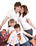 Happy family and child shopping. Royalty Free Stock Images
