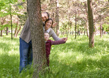 Happy family and child in summer park. People hiding and playing behind a tree. Beautiful landscape with trees and green grass Stock Images
