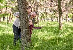 Happy family and child in summer park. People hiding and playing behind a tree. Beautiful landscape with trees and green grass Royalty Free Stock Photography